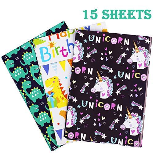 Whaline 15 Blatt Geschenkpapier Einhorn Paket Papier Happy Birthday und Dinosaurier Geschenkpapier für Kinder Geschenk, Party und Babyparty (5 Blatt je 3 Muster, 50 x 70 cm)