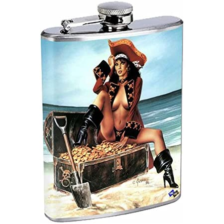 Rock /& Roll Pin Up Girls D13 Flask 8oz Stainless Steel Hip Drinking Whiskey