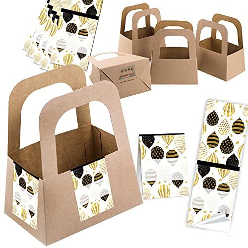 Logbuch-Verlag 5 pequeñas cajas de regalo con asa de papel de estraza + 10 pegatinas para globos en negro, blanco y dorado para escribir – paquete de regalo
