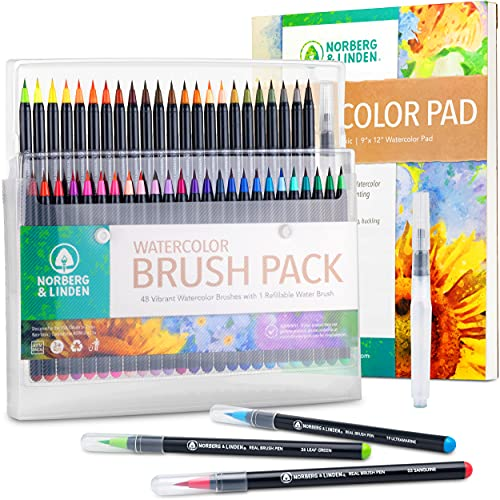 Norberg & Linden Real Waterbrush Set - 48 Watercolor Paint Markers, 1 Refillable Water Brush, Painting Pad - Nylon Tips for Drawing & Calligraphy - Coloring Pens for Professional & Beginner Artists