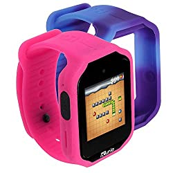 Interchangeable watch straps, Pink and Purple. The purple strap is heat sensitive and will change to blue Operate as a hands-free kit for a Smartphone when connected via Bluetooth Splash proof and scratch resistant screen Pre-loaded with 20 apps on 2...