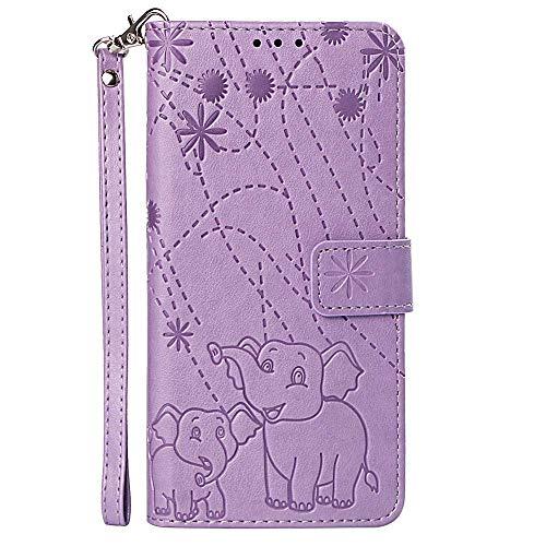vingarshern Hülle für Huawei Honor Play 8A Schutzhülle Klappbares Flip Lederhülle Magnetverschlüsse Schutztasche Etui Honor Play 8A Hülle Leder Brieftasche,Elefant-Lila MEHRWEG