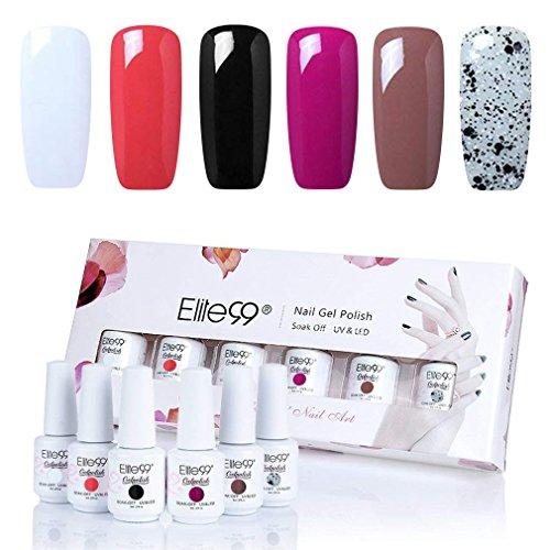 Elite99 Gel Polish Soak Off Gel Nail Polish UV LED Nail Art Gift Box Set of 6