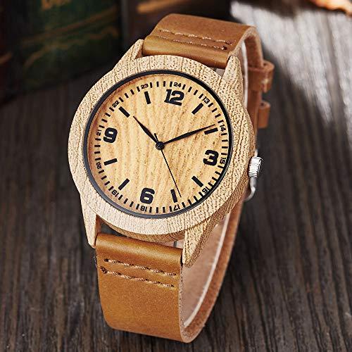 PLUIEX Reloj de madera de moda relojes de madera mujeres hombres relojes de pulsera de cuarzo casual de color madera correa de cuero reloj de las mujeres reloj de imitación de madera reloj