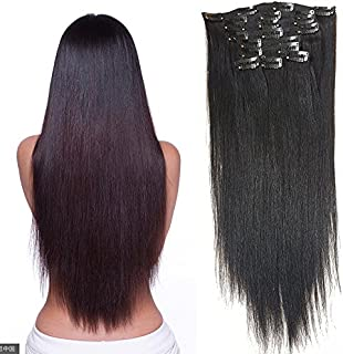 Hannah Queen Hair Brazilian Clip In Hair Extensions #1B Natural Black Grade 8A Double Weft 100% Remy Human Hair Full Head Straight 7pcs 16clips for Women Beauty (16 inch 70g,#1B Natural Black)