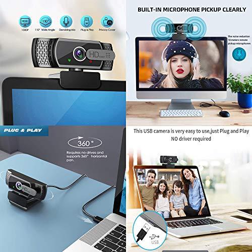 FHD 1080P Webcam, Live-Streaming-Kamera mit Datenschutz für Videoanrufe, Online-Kurse, USB-Webkamera für Desktop- und Laptop-Konferenzen, Besprechungen, Zoom, Skype, Facetime, Windows, Linux und MacOS