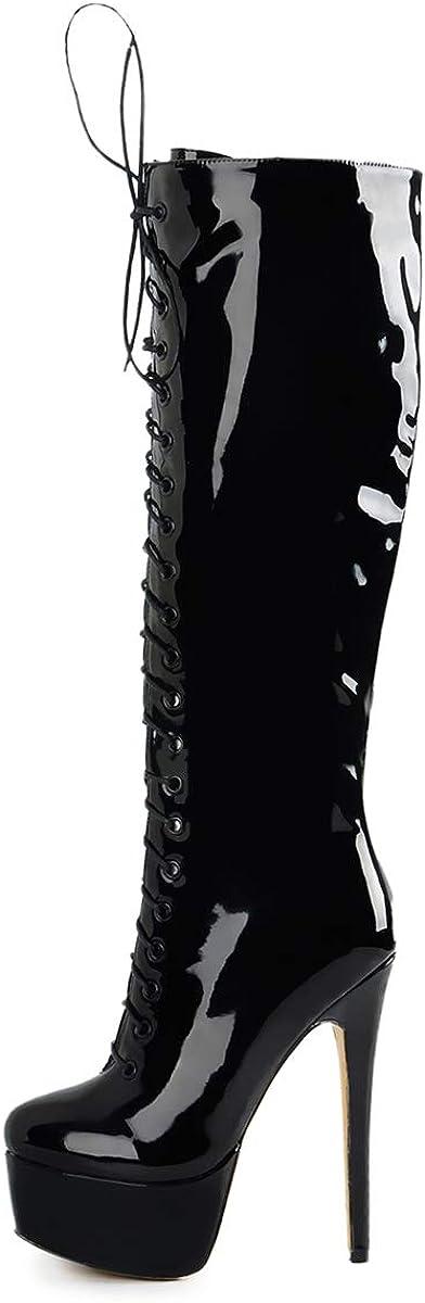 Richealnana Women's Platform Lace Up Stiletto High Heels Knee High Boots