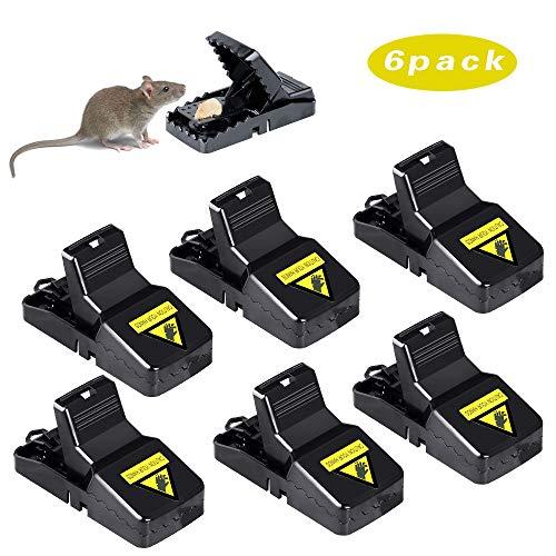 Vegkey Mausefalle, Mäusefalle Rattenfalle Köder 6 x Profi Mausefalle Schlagfalle, Hygienisch Wiederverwendbar Effektive Rattenfalle in Haus und Garten