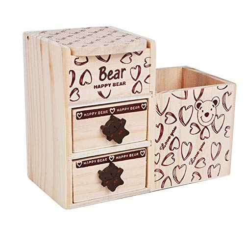 ZHAS Boîte de Rangement pour cosmétiques Porte-Stylo en Bois Bureau Bureau Crayon Papeterie Boîte de Rangement pour cosmétiques Organisateur