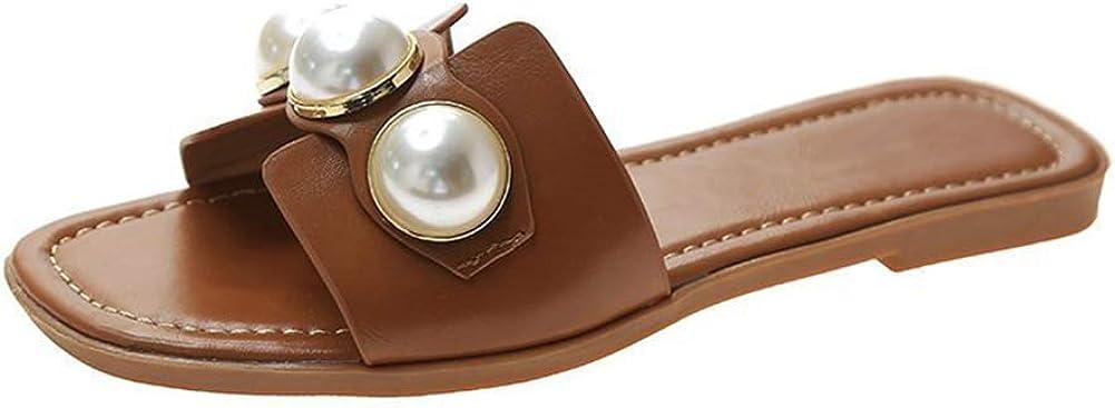 BeneModa Women's Flat Sandal Open Toe Slip On Slides Pearl Decoration Slipper Sandals