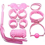 7pcs Leather Set Adult Toys for Couples Kit Toy Role Play Cosplay B.d.š-ṃ Bô.ňd.áģê Set for Men Women Adjustable Bedroom Romantic Night Valentine(Pink)
