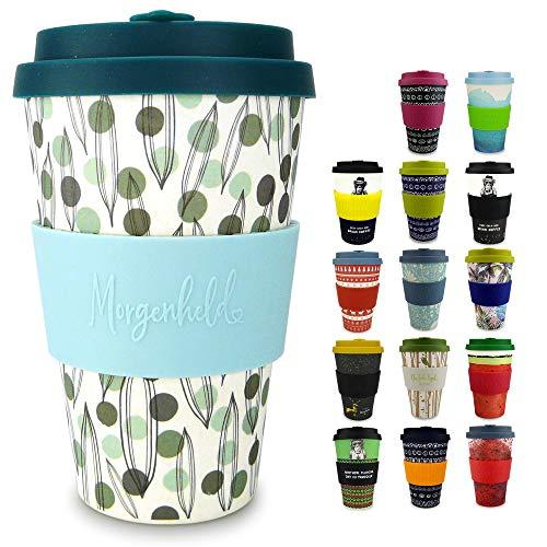 Morgenheld Vaso de bambú moderno   vaso para llevar   vaso para café con tapa de silicona de diseño moderno   capacidad total 400 ml