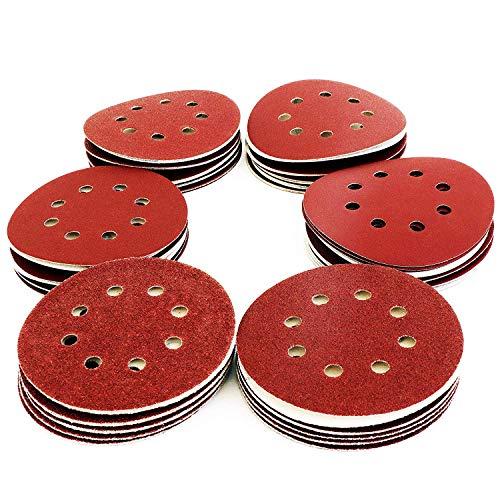 S&R Klett Schleifpapier Set 125 mm 70 St: je 10x P60, P80, P120, P180, P240, P320, P400, 8 Löcher, für Exzenterschleifer