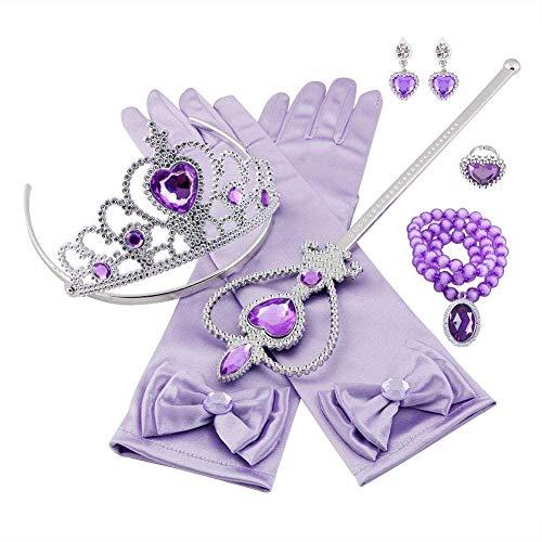 Aoi Set Costume Principessa, con Corona Principessa, Anelli, Guanti, Collana, Orecchini, per Bambini, Ragazze, Cosplay, 8 Pezzi (Viola)