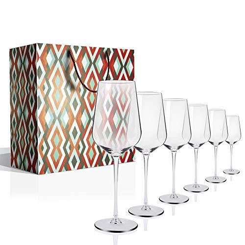 Vino Tinto Copas Vaso de vino Whisky Blanco Rojo Cristal Soplado a Mano Sin Plomo 18 Ounce Juego de 6 Cajas de Regalo