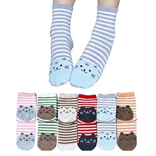 Auxma 6paires de chaussettes en coton pour femme avec chat en 3D et rayures