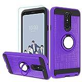 LG Q7 Hülle, LG Q7 Plus Hülle mit HD-Bildschirmschutzfolie, Atump 360 Grad drehbarer Ringhalter Kickstand Halterung Cover Handyhülle für LG Q7+ / LG Q7 lila