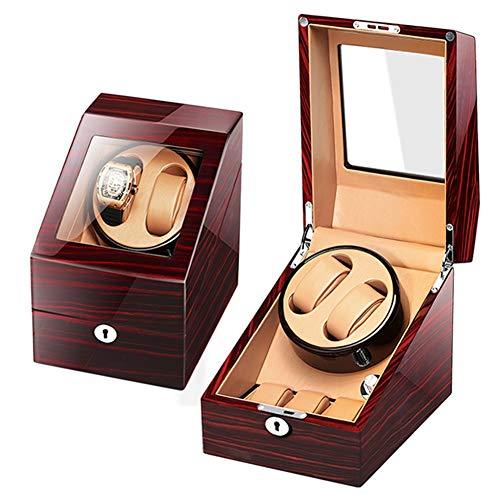ZCXBHD Automático Cajas Giratorias para Relojes de Madera para 2 Relojes + 3 Almacenamiento Caso Piano Lacquer 5 Rotación Modos (Color : Brown-a)