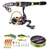 Sougayilang Canne à pêche télescopique et moulinets portables pour pêche en eau douce et eau de mer, idéal pour les déplacements, Fishing Full Kit, 1.8M/5.91Ft