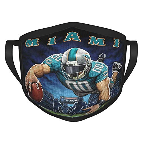 Fremont Die Mia-mi Dolp-hins NFL Outdoor Bandanas,Adult Black Border Masks,Mouth Guard,Balaclava,Neck Gaiter,Dustproof Scarf,Face Cover