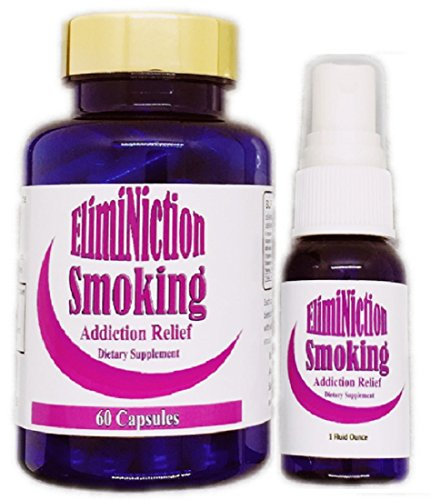Eliminiction - Stop Smoking Anxiety Relief Capsules &Amp; Spray Combo - Reduces Cravings And Withdrawal Symptoms - Best Alternative To Nicotine Patches And Gum - Natural Herb Supplements To Lower Stress