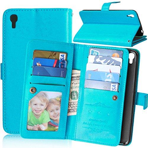 Handyhülle Fall, Solid Color Premium-PU-Leder-Mappen-Magnetic Buckle Design-Flip Folio Hülle Schutzhülle Einbau-9-Karten-Slots & Ständer für Alcatel One Touch Idol 3 5,5 Zoll ( Farbe : Blau )