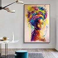 アフリカの黒人女性の落書きアートポスターとプリント抽象的なアフリカの女の子のキャンバスの絵画壁アートの写真壁の装飾24x36cmフレームなし