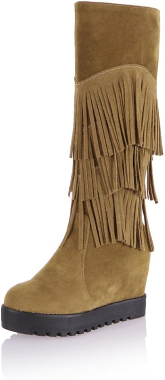 MINIVOG Women's Tassel Fringe Round Toe Suede Hided Wedge Heel Knee-high Boots Black