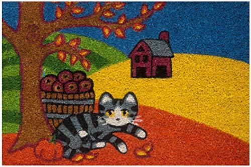 Felpudo de exterior de coco con base de PVC pintado a mano, diseño de gato, paisaje otoñal, 60 x 40 x 2 cm, fácil de limpiar y ultrarresistente