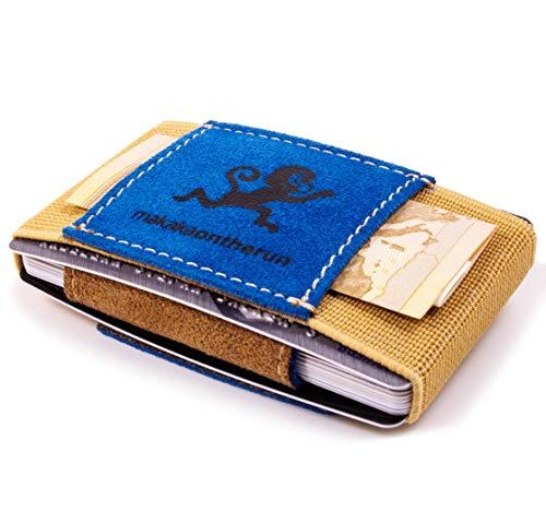 MakakaOnTheRun Portamonete Beige 3 - Top Grain Leder Hellblau Scheckkarten-Format (ISO)