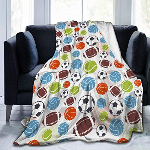 AIKIBELL Ultra-Soft Micro Fleece Blanket,Sports Ball Pattern,Home Decor Warm Throw Blanket for Couch Bed,80'X 60'