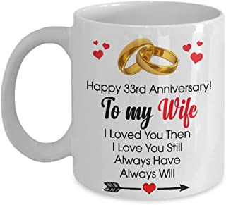 Happy 33rd Anniversary Mug - Wife 33 Year Wedding Gift Ideas Wife Men Women Him Her Family Friends