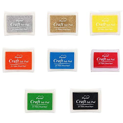 Tampons Encreurs, Lavable Non-Toxic Color Ink Inkpad, Bricolage Pour Carte de Tampons en Caoutchouc, Papier, Scrapbooking, Tissu, Cadeau Pour Enfants (8 Couleurs)