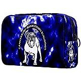 Bolsa de maquillaje con diseño de bulldog inglés en azul rayo y estuche organizador para viaje portátil para niñas, mujeres