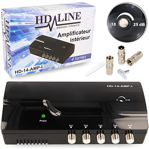 HD-Line Amplificateur terrestre TNT 4 Voies UHF VHF Gain 25dB - Amplifier et repartir Le Signal TNT...