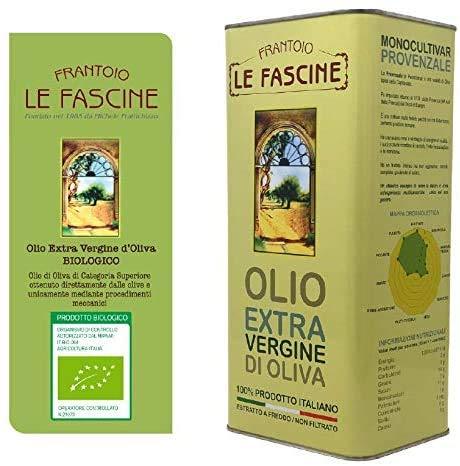 Le Fascine Olio Extravergine d'Oliva Provenzale Biologico 100% Italiano In Latta da 5 Litri Olio Extravergine d'Oliva Biologico Pugliese Prodotto da Monoultivar Provenzale ( Peranzane )
