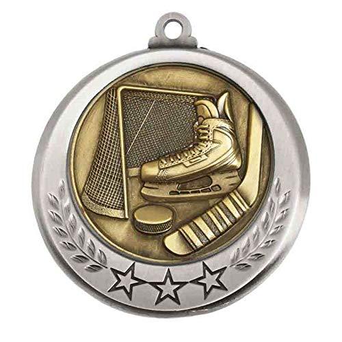 Trophy Shack Eishockey-Medaille in Antik-Silber, 70 mm, mit Band zur Auswahl, personalisierbar mit bis zu 60 Buchstaben, AM6030.67-M018, 10 Stück