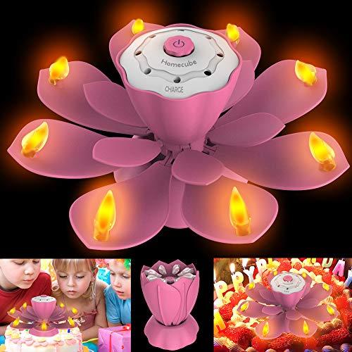 Velas de Cumpleaños LED, luz Parpadeante sin Llama con 3 Modos de Flash Ajustables, velas de torta de Lotus giratorio con SOPLAR Diseño para fFesta de Cumpleaños, Decoración de Navidad (Rosado)