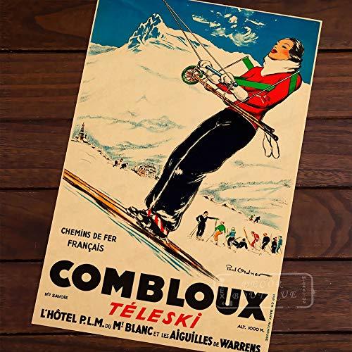 PMSMT Esquí en Alaska, Austria, Arte Pop, Mapa, Cartel, Vintage, clásico, Retro, Kraft, mapas Decorativos, Lienzo, Pegatina de Pared para decoración de Carteles de Bar en casa