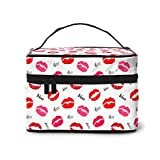 Kiss and Red Lips Cosmetic Travel Bags for Women(9x6.5x6.2 in Square Makeup Case High Capacity Multifunction Portable Travel Toiletry Bag Black
