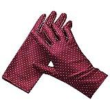 BUZZxSELECTION(バズ セレクション) ドット柄 布 手袋 保護 ハンドケア 紫外線 UV対策 白 黒 レディース GB008 (03 レッド)