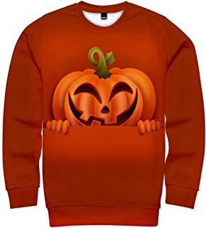 Zackate Unisex Halloween Style 3D Printed Pullover Crew Neck Long Sleeve Party Dressing Tops Sweatshirts