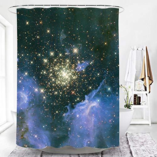 TopTree Duschvorhang Sternenklarer Himmel Schimmelresistenter & Wasserabweisend Shower Curtain mit 12 Duschvorhangringen 180x200cm