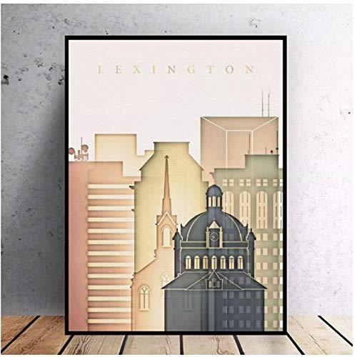 Tiiiytu Impresión HD Lexington Kentucky Skyline arte lienzo póster pintura de pared...