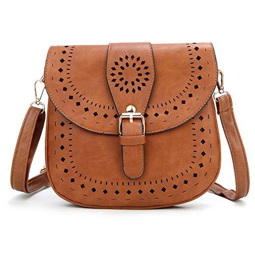 DCCN Bolso de Hombro para Mujer, Bolso de Cuero pequeño Retro marrón
