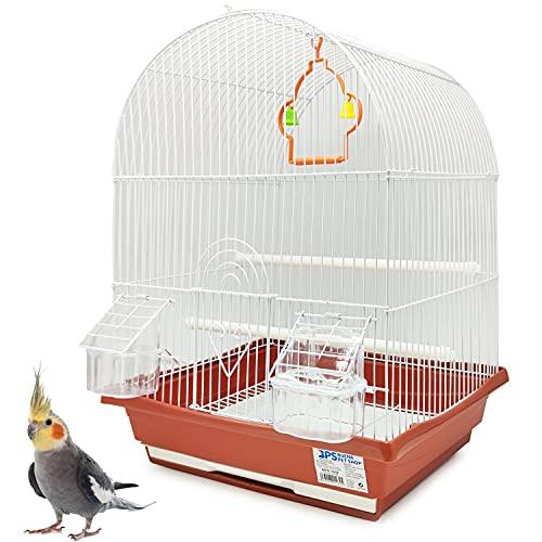 BPS BPS-1232 - Gabbia per uccelli, pappagallini, canarini, mangiatoia, abbeveratoio, altalena, per riposo, colore casuale