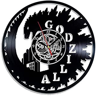 Godzilla vinyl wall clock great gift for men, women, kids, girls and boys, birthday, christmas beautiful home decor - unique design that made out of vinyl LP record