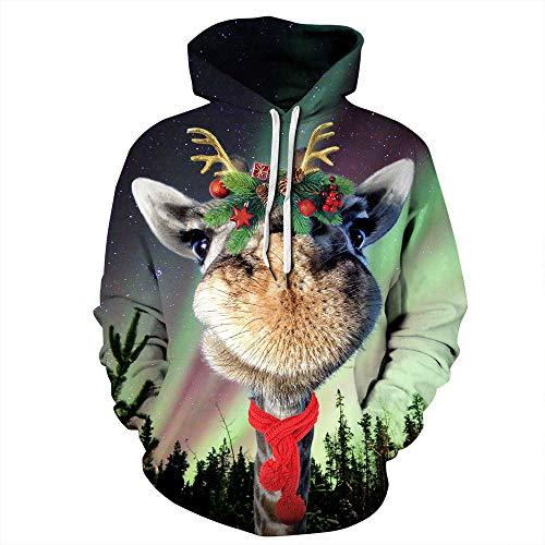 HuangZhiYi Frauen, Männer Weihnachten Sweatshirt Hoodie Weihnachtsmann Rundhals Langarm Print Pullover, Digitaldruck Langarm Shirt, Herbst/Winter Explosion