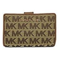 Michael Kors Jet Set Travel Bifold Zip Coin Monogram Wallet (Beige/Ebony)