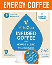 VitaCup Gourmet House Energy Blend Coffee Pods 100ct   Keto   Paleo   Whole30   Vitamins B1, B5, B6, B9, B12, D3   Compatible with K-Cup Brewers Including Keurig 2.0   Medium Roast